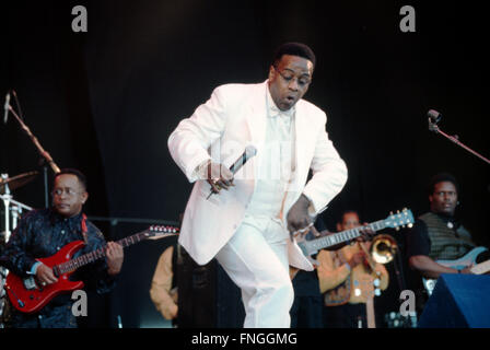 The Reverend Al Green or  'Al' Greene performing on the Pyramid stage at the Glastonbury Festival 1999, Somerset, - Stock Photo