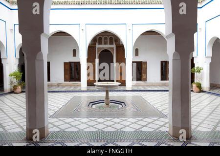 Room with mosaic on the floor in Palais de la Bahia, Marrakech, Morocco - Stock Photo