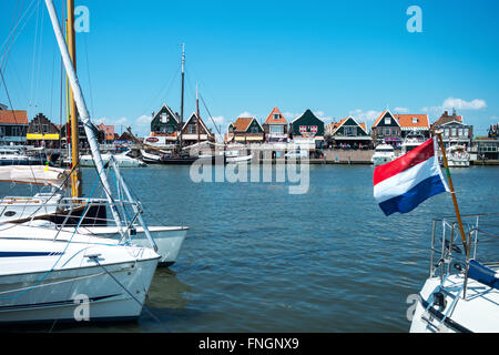 Amsterdam, Waterland district, Volendam, boats in the harbour in front of the town center - Stock Photo