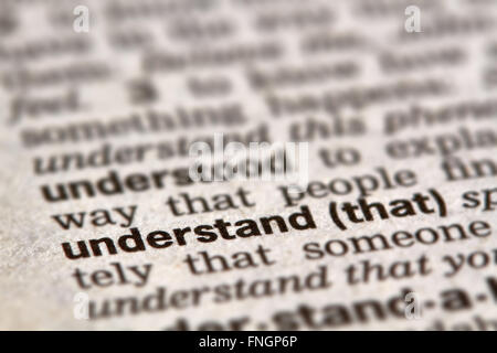 Understand Word Definition Text in Dictionary Page - Stock Photo