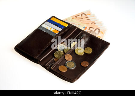 Wallet with credit cards and money. Fifty euros and cents - Stock Photo