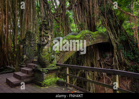 Dragon Bridge in Sacred Monkey Forest Sanctuary, Ubud, Bali, Indonesia - Stock Photo
