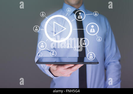 Business man using tablet PC. Video shows Internet users. presentation concept - Stock Photo