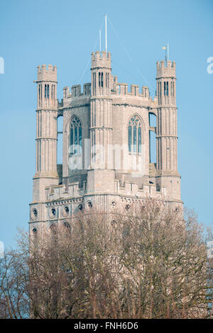 The tower at the west end of the cathedral at Ely, which is a place for christian worship. - Stock Photo