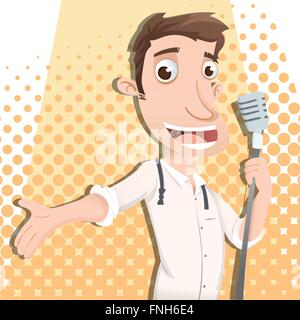 cartoon man singing with microphone - Stock Photo