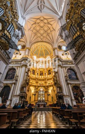 Main Chapel, Cathedral, Granada, Andalusia, Spain - Stock Photo