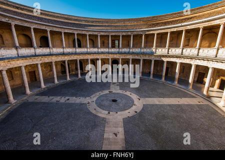 Courtyard of the Palace of Charles V or Palacio de Carlo V, Alhambra palace, Granada, Andalusia, Spain - Stock Photo