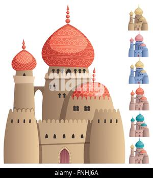 Cartoon Arabian castle on white background in 7 color versions. No transparency used. Basic (linear) gradients. - Stock Photo