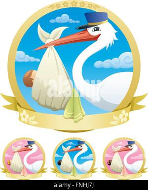 Stork is delivering a baby. The illustration is in 4 different versions. - Stock Photo