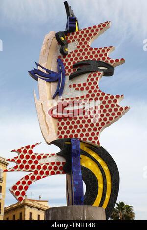 Pop art sculpture El Cap de Bardelona, The Barcelona Head, by Roy Lichtenstein, Barcelona, Catalonia, Spain - Stock Photo