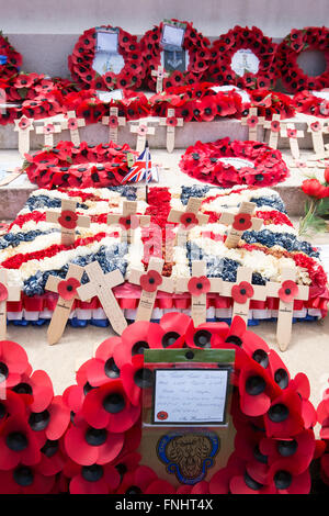 Wreaths of poppies and crosses at the British War Cemetery in Bayeux, France, laid at the 70th anniversary of D - Stock Photo