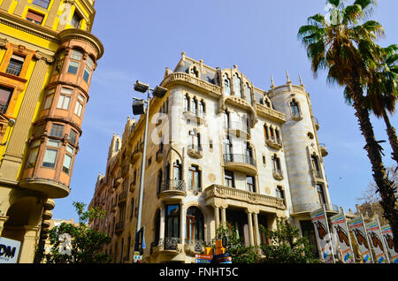 Hotel Casa Fuster 1908-1910. Designed by Lluís Domènech i Montaner architect. Gracia quarter, Barcelona, Catalonia, - Stock Photo