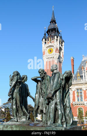 Rodin's Burghers of Calais sculpture stands in front of the town hall in Calais, France - Stock Photo