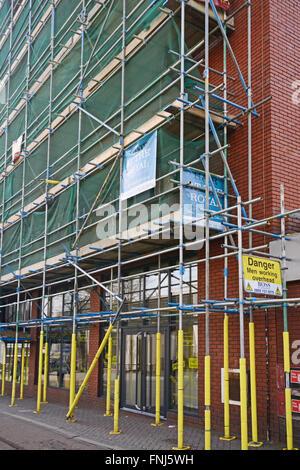 scaffolding Goldsmith Street, Nottingham, - Stock Photo
