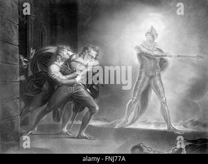 Hamlet, Horatio, Marcellus, and the Ghost in front of the Palace of Elsinor. from a painting by Henry Fuseli, 1796 - Stock Photo