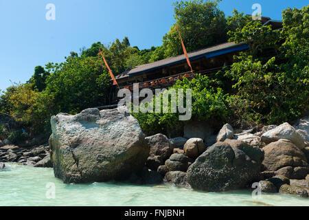 On The Rocks unusual restaurant in the trees, Ko Lipe, Thailand - Stock Photo