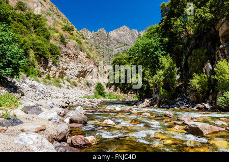 Redwood Creek at Kings Canyon Scenic Byway, Highway 180, Kings Canyon National Park, Southern Sierra Nevada, California, - Stock Photo