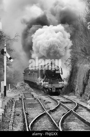 The Flying Scotsman steam locomotive arriving at Goathland station on the North Yorkshire Moors Railway. - Stock Photo
