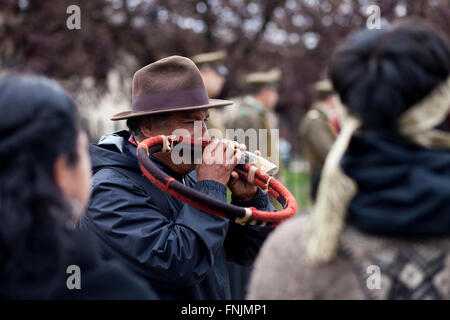 Rio Bueno, Chile. March 15, 2015.  Mapuche man plays 'trutruca' typical instrument. Members of Mapuche indigenous - Stock Photo
