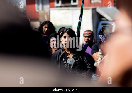 Rio Bueno, Chile. March 15, 2015. In the picture the 'Machi' (traditional medical Mapuche) Millaray. Members of - Stock Photo