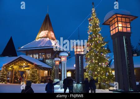 Rovaniemi, Lapland. 08th Feb, 2016. The Christmas village at the polar circle in Rovaniemi, Lapland, 08 February - Stock Photo