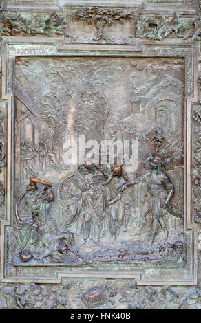 Judas' betrayal, artwork from the school of Giambologna, Cathedral St. Mary of the Assumption in Pisa, Italy