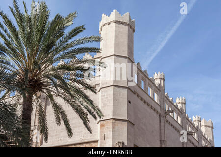 Facade Sa Llotja, gohitc style, Palma de Mallorca, Balearic Islands, Spain. - Stock Photo