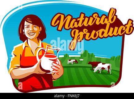 cow milk vector logo. milkmaid, farmer or farm icon - Stock Photo