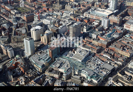 aerial view of Albion Street in Leeds city centre, West Yorkshire, UK - Stock Photo