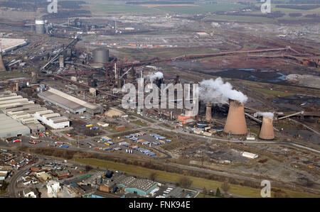 aerial view of the British Steel Tata steelworks in Scunthorpe, Lincolnshire, UK - Stock Photo