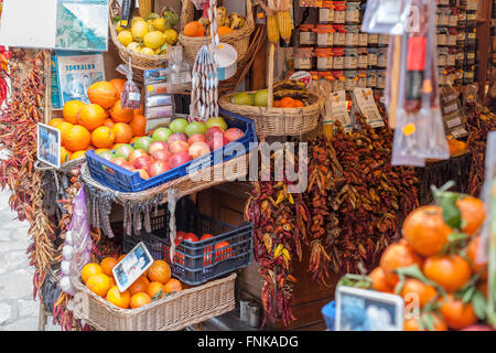 Shop typical products in Palma de Mallorca, Balearic Islands, Spain. - Stock Photo