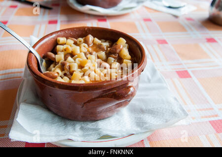 pasta and beans in the pan services in outside - Stock Photo
