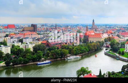View on Wroclaw in the rainy day. Wroclaw is the historical capital of Silesia. Poland - Stock Photo