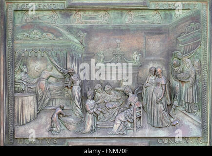 Nativity of the Virgin, Cathedral St. Mary of the Assumption, artwork from the school of Giambologna in Pisa, Italy