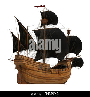 Pirate Ship On White Background. 3D Model. - Stock Photo