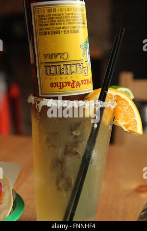 Frosted beerita in a mexican-style restaurant. - Stock Photo