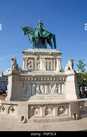 Equestrian statue King Stephen I. at the Fisherman's Bastion in the Castle District, Budapest, Hungary - Stock Photo