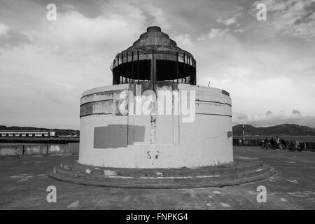 Black and white image of an abandoned structure on the Aquatic Park Pier In San Francisco - Stock Photo