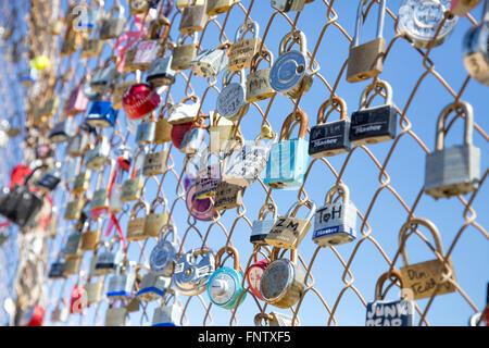 Locks of Love at Runyon Canyon, Los Angeles California - Stock Photo
