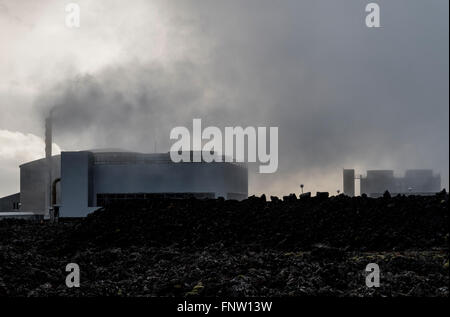 The Svartsengi geothermal power station in Iceland - Stock Photo