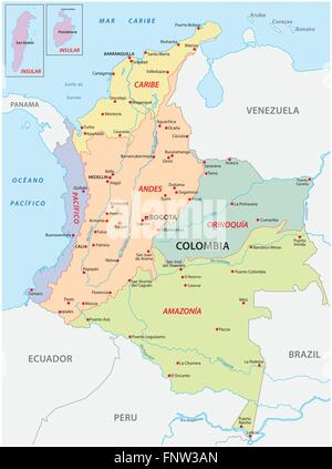 map of the natural regions, Colombia - Stock Photo