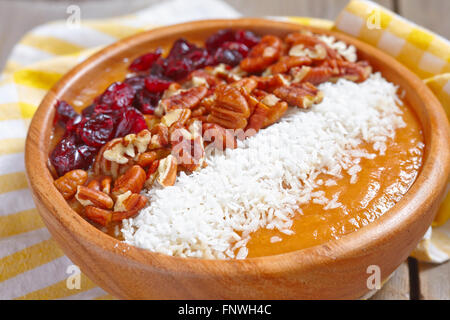 Carrot cake smoothie in a bowl - Stock Photo