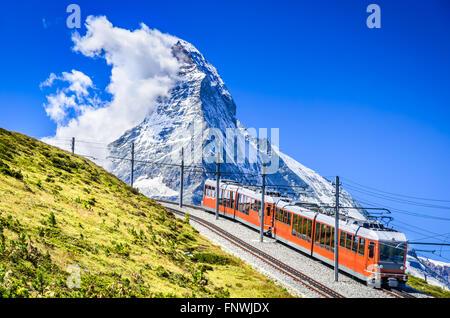 Matterhorn, Switzerland. Gornergratbahn is a 9 km long gauge mountain rack railway leading from Zermatt (1604 m), - Stock Photo