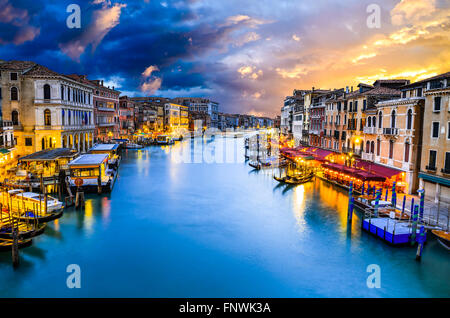 Venice, Italy. Famous Grand Canal view at twilight from Rialto Bridge. Venezia Laguna at Adriatic Sea. - Stock Photo