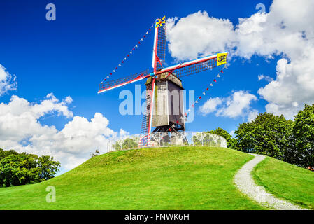 Bruges, Belgium. Sint Janshuismolen wind mill dating from 1770, still in its original spot, West Flanders - Stock Photo