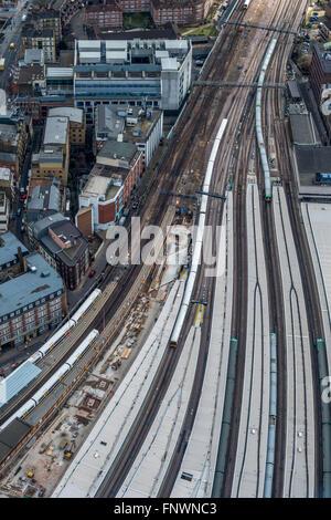 Aerial view of London rail network close to London Bridge Railway Station - Stock Photo