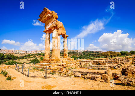 Agrigento, Sicily. Temple of Castor and Pollux one of the greeks temple of Italy (Magna Graecia). The ruins are - Stock Photo
