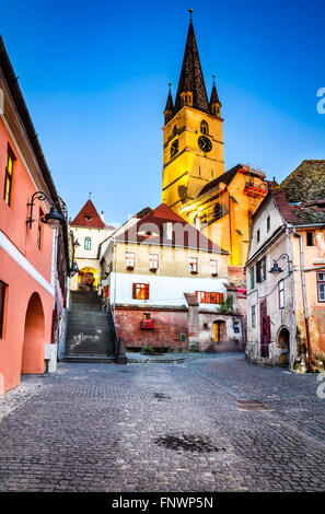 Sibiu, Romania. Evangelic Church, built in 1530 in the Huet Square, seen from medieval Lower Town city, Transylvania. - Stock Photo