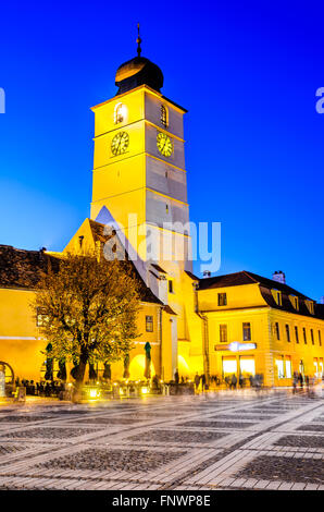 Sibiu, Romania. Large Square with Council Tower downtown of medieval city in Transylvania, Romanian historic region. - Stock Photo
