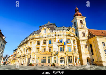 Sibiu, Romania. Large Square with City Hall, majestic attraction of Transylvania medieval city. - Stock Photo